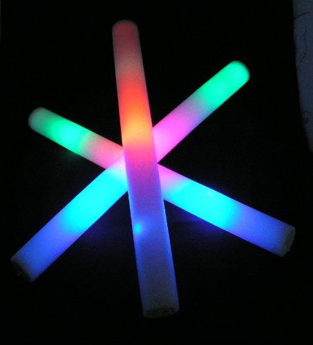 16 Pack of 18 Multi Color Foam Baton LED Light Sticks - Multicolor - Color Changing 3 Mode Flashing