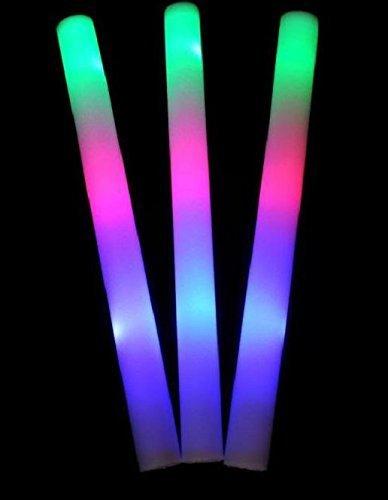 50 pack of 18 Multi Color Foam Baton LED Light Sticks - Multicolor Color Changing Rally Foam 3 model flashing