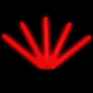 6 Lumistick Glow Stick Light Sticks Red Tube of 25