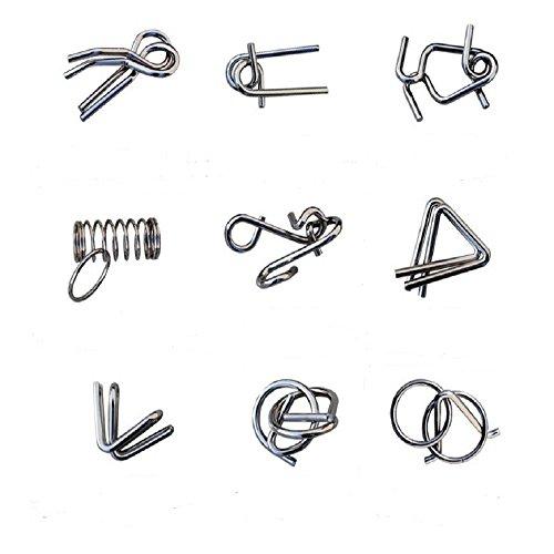 WDLROADS IQ Test Mind Game Toys Brain Teaser Metal Wire Puzzles Magic Trick Toy Metal IQ Puzzle Set of 9