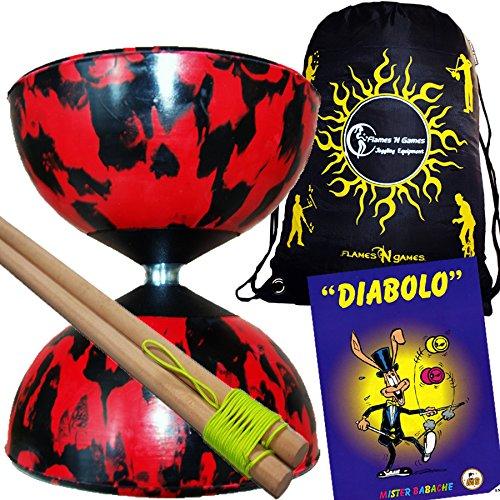 Mr Babache Harlequin Diabolo Set - BlackRed With Wooden Diablo sticks Mr Babache Diabolo Book of Tricks  Flames N Games FABRIC Diabolo Travel Bag