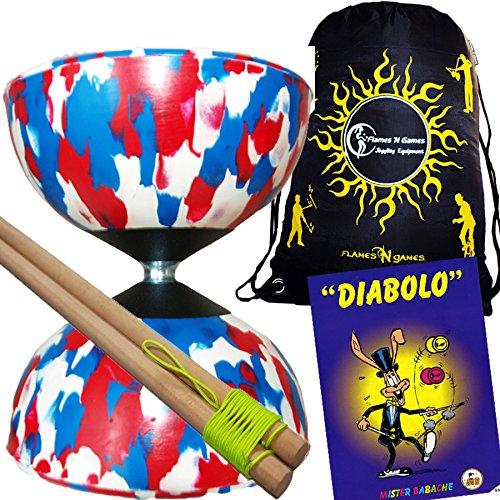 Mr Babache Harlequin Diabolo Set - WhiteRedBlue With Wooden Diablo sticks Mr Babache Diabolo Book of Tricks  Flames N Games FABRIC Diabolo Travel Bag