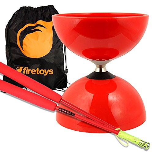 Red Big Top - Jumbo Bearing Diabolos Set Red Superglass Diablo Sticks Diabolo string FiretoysBag