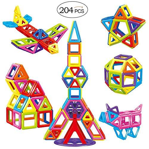 TUMAMA 204 PCS Mini Size Magnetic Blocks Building Tiles Construction Stacking Toys SetMagnet Building Tiles