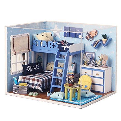DIY Miniature Dollhouse Kit with Furniture Handmade Dolls House Miniature Kit Plus Dust Proof and LED Lights124 Scale Creative Room Idea