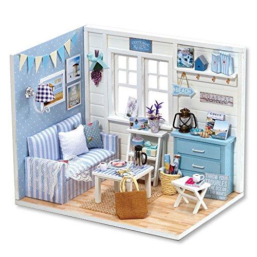 DIY Miniature Dollhouse Kit with Furniture Handmade Dolls House Miniature Kit Plus Dust Proof and LED Lights124 Scale Creative Room Idea Fresh Sunshine