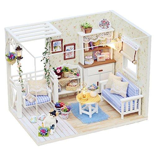 DIY Miniature Dollhouse Kit with Furniture Handmade Dolls House Miniature Kit Plus Dust Proof and LED Lights124 Scale Creative Room Idea Kitten Diary