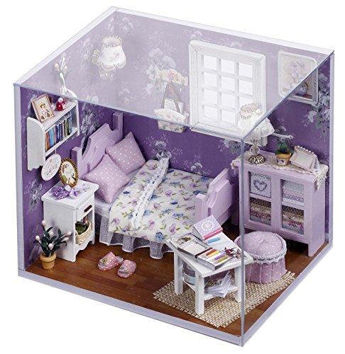 DIY Miniature Dollhouse Kit with Furniture Handmade Dolls House Miniature Kit Plus Dust Proof and LED Lights124 Scale Creative Room Idea Sweet time