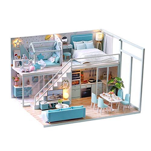 DIY Miniature Dollhouse Kit with Furniture Handmade Dolls House Miniature Kit Plus LED Lights and Music Movement124 Scale Nordic Loft Apartment