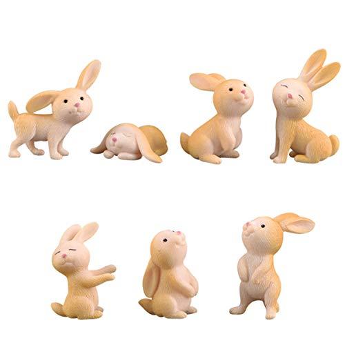 STUDYY 7 Pcs Cute Miniature Rabbit Figure Animal Rabbit Characters Toys Mini Figure Collection Playset Rabbit Cake Topper Plant Automobile Decoration