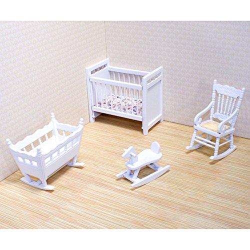Melissa Doug Classic Wooden Dollhouse Nursery Furniture 4 pcs - Crib Bassinette Rocker Rocking Horse