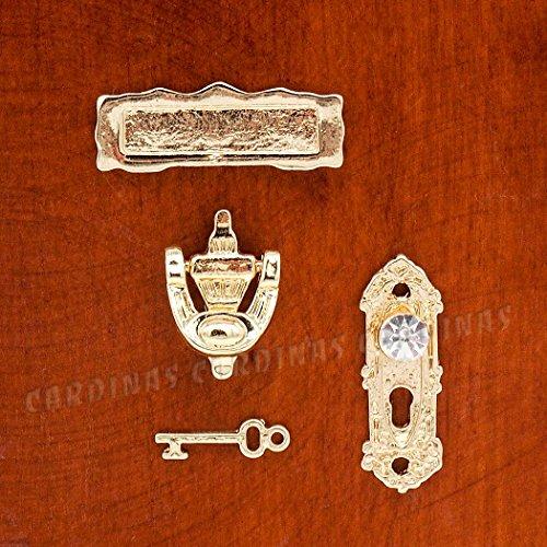 Odoria 112 Miniature Golden Door Knocker Lock Doorplate Set Dollhouse Decoration Accessories