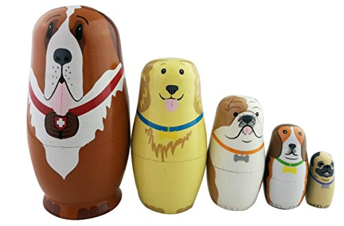 5pc Nesting Doll Dog- Wooden Dog Hand Painted Nesting Dolls Matryoshka - Set of 5 Dolls From 57 Tall