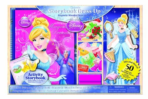 Bendon Disney Princess Storybook Dress Up Magnetic Wooden Doll Set 50-Piece