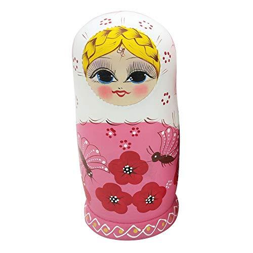 FAgdsyigao 7 Layers Children Kids Matryoshka Doll Russian Wooden Doll Set Lovely Nesting Girl Matryoshka Craft Toy Gift