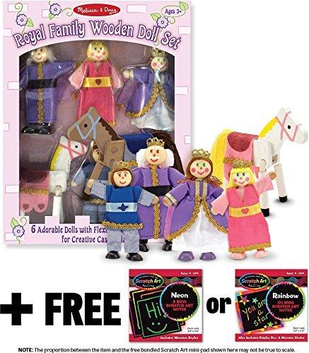Melissa Doug Royal Family Wooden Doll Set 1 Scratch Art Mini-Pad Bundle 00286