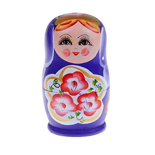 powerfulline Russian Nesting Dolls Desk Decor Gift for Kids 5Pcs1 Set Russian Wooden Doll Set Hand Painted Nesting Girl Matryoshka Toy Gift - Purple
