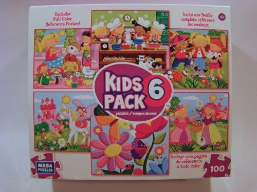 Kids 6 Pack 100 Piece Jigsaw Puzzles Tea Party - Best Friends - Princess - Butterfly Garden - Baking - Unicorn Friend