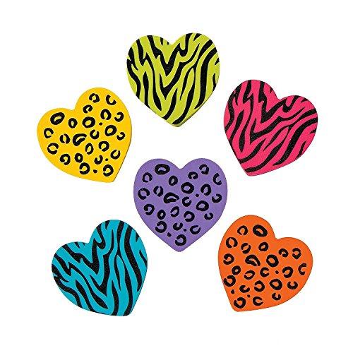 2 Dz Rubber Animal Print Heart Erasers
