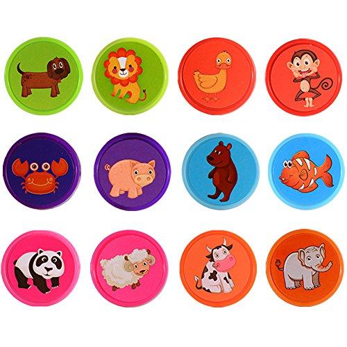 Acefun Mini Cute Animal Rubber Stamp Seal Box Kit for DIYSet of 60