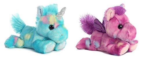 Bundle of 2 Aurora 7 Stuffed Beanbag Animals - Blueberry Ripple Unicorn Tutti Frutti Pegasus