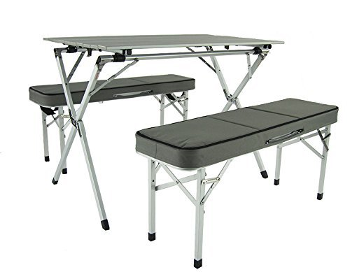 World Outdoor Products SUITCASE STYLE Aluminum Portable Rollup Picnic Table and Benches