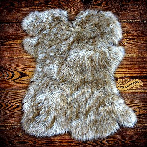 Gray Wolf Faux Fur Pelt Rug - Sheepskin Shag - Shaggy Throw - Accent Carpet -Kids Bedroom - Play Rug - Nursery - Crib Mat - Design By Fur Accents 60x70