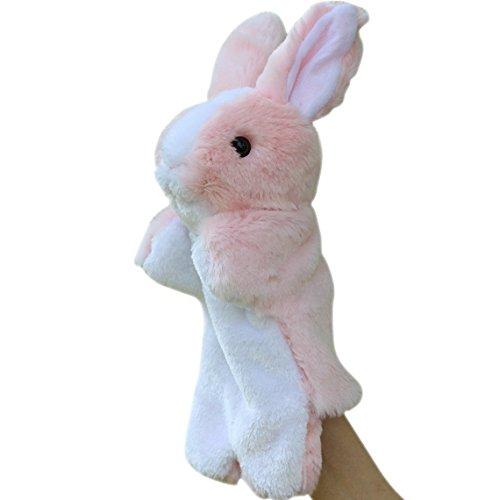 Happy Cherry Children Babys Puzzle Hand Puppet Plush Toys Rabbit Model Hand Dolls - Pink
