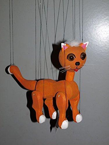 CAT 2 Orange Loutka Marionette String Puppets Approx 18 High Hand Made In Prague Czech Republic