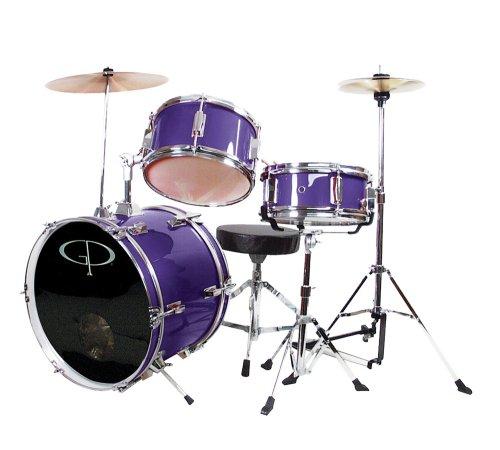 GP Percussion GP50MPR Complete Junior Drum Set Purple 3-Piece Set