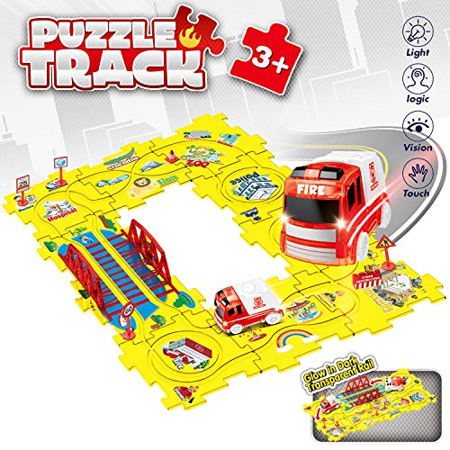 Mini Tudou DIY Puzzle Tracks Car Set Fire Engine Themed Vehicle Interchangeable Tracks 18 Pcs Sets Toys for Over 3 Year Old Boys Girls