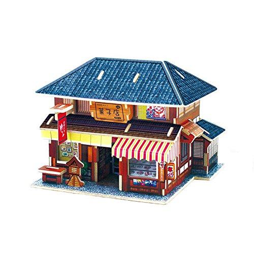 Creative Assemble Puzzle Toys Child Early Education Wooden 3D Puzzle House Japan Dessert House