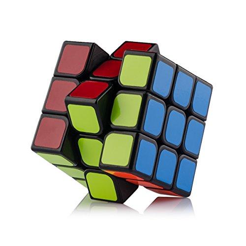 D-FantiX Speed Cube 3x3 Smooth Magic Cube Puzzle Stickered Version Black Brain Teaser Children Puzzles 56mm