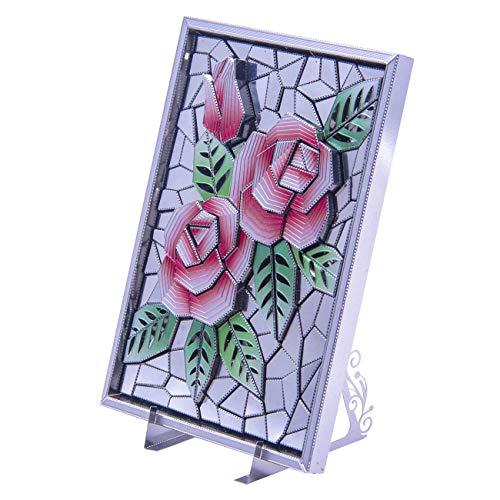 3D Metal Puzzle Microworld Laser Cut Jigsaw DIY Model Building Kit - Z002 Rose Flower Photo Flame