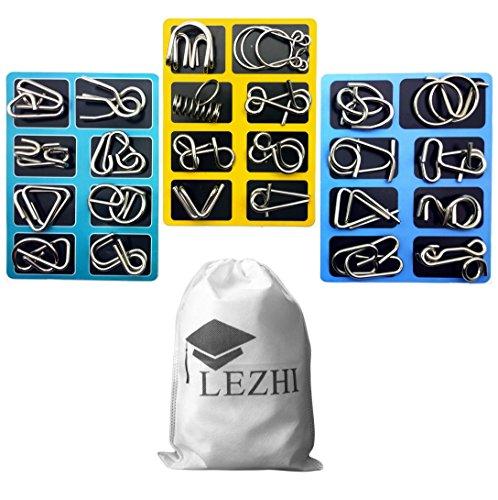 LEZHI IQ Toys IQ Test Mind Game Toys Brain Teaser Metal Wire Puzzles Magic Trick Toy Metal IQ Puzzle ABC