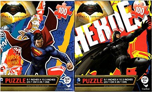 Batman vs Superman Wonder Woman Puzzles 2 100 Pieces Ages 6 Bundle of 2 Puzzles for Boys Superheroes