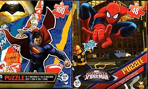 Batman vs Superman Wonder Woman and Spiderman Puzzles 48 100 Pieces Ages 6 Bundle of 2 Puzzles for Boys Superheroes