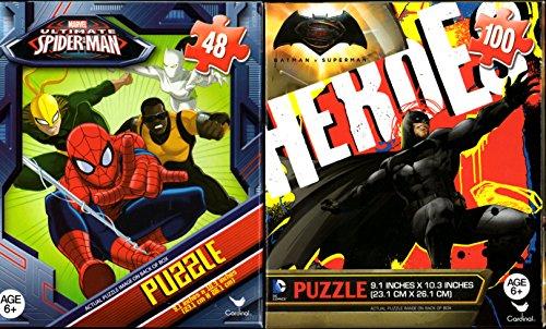 Batman vs Superman and Spiderman Puzzles 48 100 Pieces Ages 6 Bundle of 2 Puzzles for Boys Superheroes