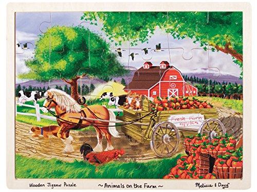 Melissa Doug Animals on the Farm Wooden Jigsaw Puzzle With Storage Tray 24 pcs