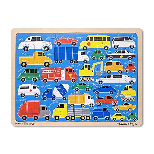 Melissa Doug Beep Beep Cars and Trucks Wooden Jigsaw Puzzle With Storage Tray 24 pcs