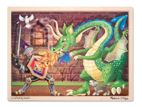 Melissa Doug Knight vs Dragon Wooden Jigsaw Puzzle With Storage Tray 48 pcs
