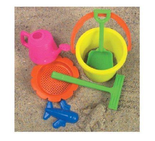 McToy Educational Products - 6 Piece Sandbox Beach Set - Bucket Shovel more Toy - Sandbox Beach set includes 6 pieces