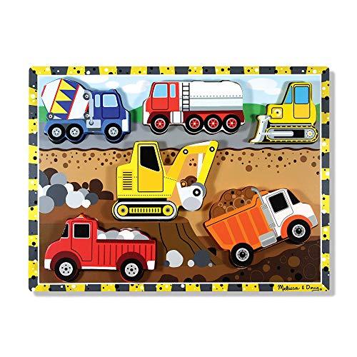 Melissa Doug Construction Vehicles Wooden Chunky Puzzle 6 pcs