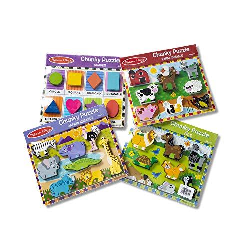 Melissa Doug Wooden Chunky Puzzle FarmPetSafariShapes Puzzle 8 Piece