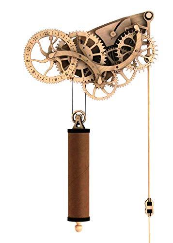 Abong Laser-Cut Mechanical Wooden Pendulum Clock - 3D Clock Puzzle Model Kit - DIY Wooden Clock Kit Renewed