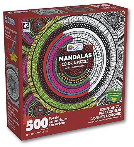 Karmin International Creative Color-A-Puzzle Adult Coloring Meditation Circles Mandala Puzzle 500 Piece