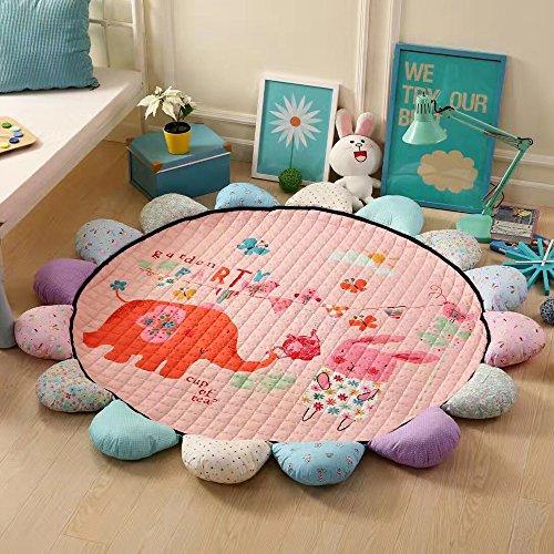 My HomeLover Next Generation Kids Play Mat 3D Digital Printing Flowers Edge Cute Elephant Design Round Baby Crawling Mat 6x6