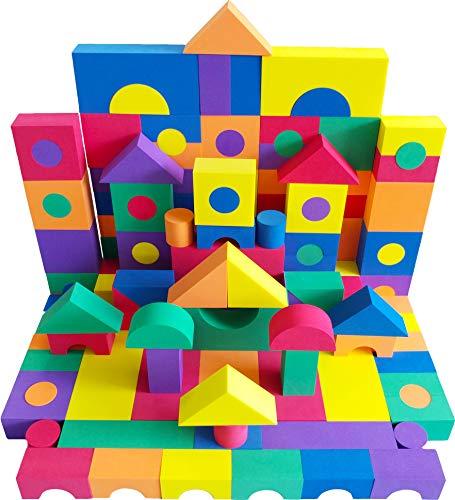 EWONDERWORLD 100 Piece Premium Quality Non-Toxic Foam Building Wonder Blocks - Building Toys Foam Blocks for Kids Toddlers Childrens Playtime Blocks