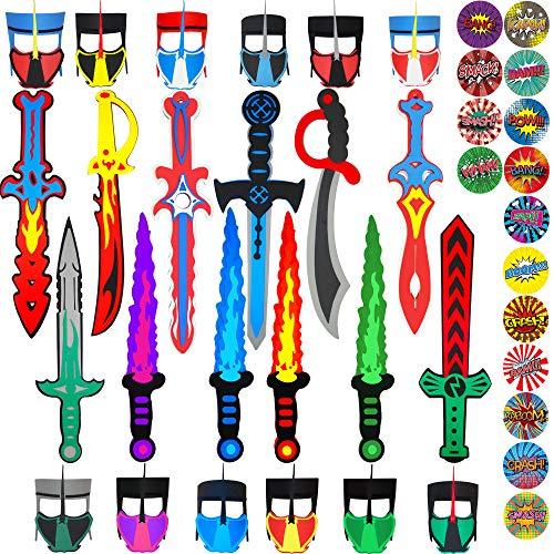 Funtoga 24 Foam Toy Swords  Masks for Kids Ninja Pirate Weapon Party Bulk Set  Superhero Stickers