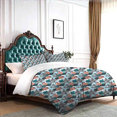 dsdsgog Hotel Luxury UnderwaterDoodle Bubbles Design 80x90 inch Hypoallergenic